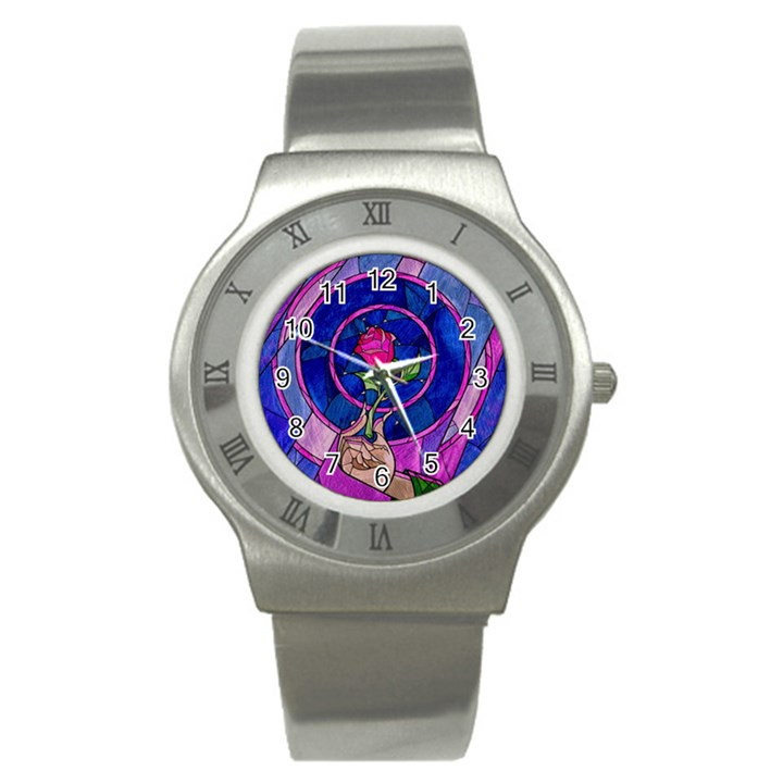 Enchanted Rose Stained Glass Stainless Steel Watch