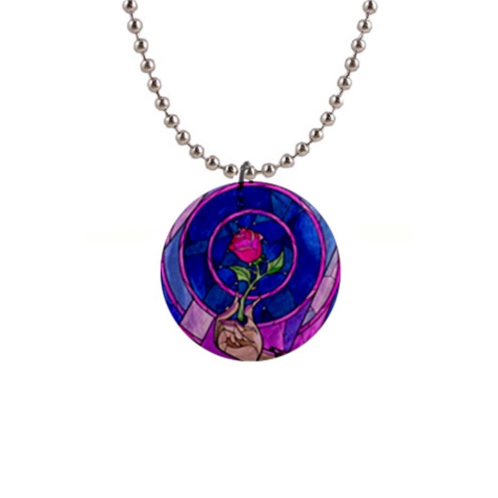 Enchanted Rose Stained Glass Button Necklaces