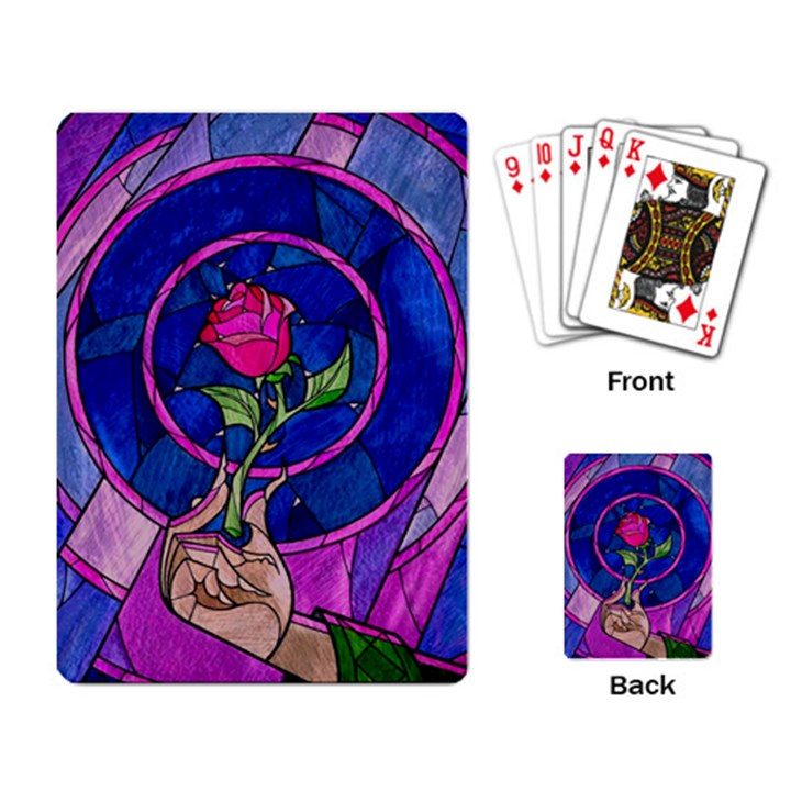 Enchanted Rose Stained Glass Playing Card