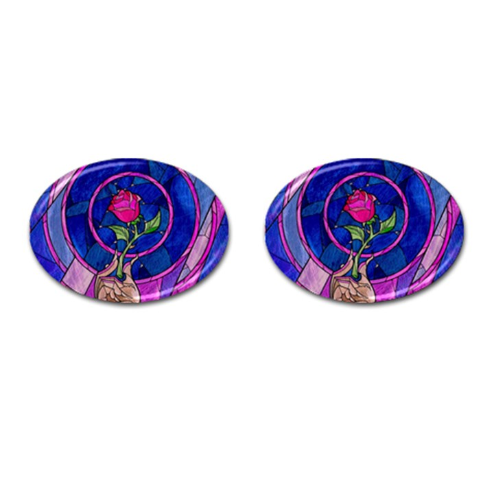 Enchanted Rose Stained Glass Cufflinks (Oval)