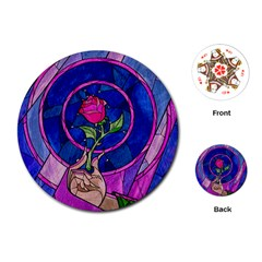 Enchanted Rose Stained Glass Playing Cards (Round)
