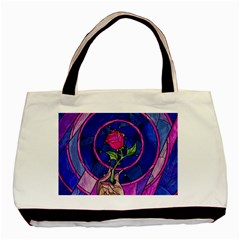 Enchanted Rose Stained Glass Basic Tote Bag