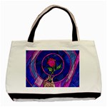 Enchanted Rose Stained Glass Basic Tote Bag Front