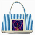 Enchanted Rose Stained Glass Striped Blue Tote Bag Front