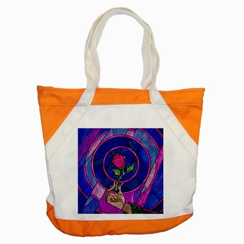 Enchanted Rose Stained Glass Accent Tote Bag