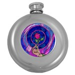 Enchanted Rose Stained Glass Round Hip Flask (5 oz) Front