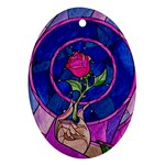 Enchanted Rose Stained Glass Oval Ornament (Two Sides) Front