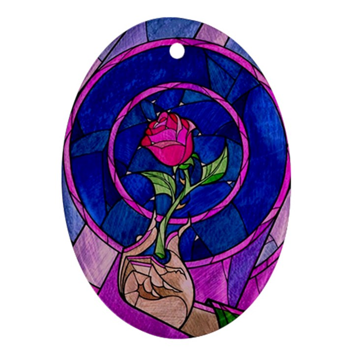 Enchanted Rose Stained Glass Oval Ornament (Two Sides)