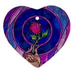 Enchanted Rose Stained Glass Heart Ornament (2 Sides) Front