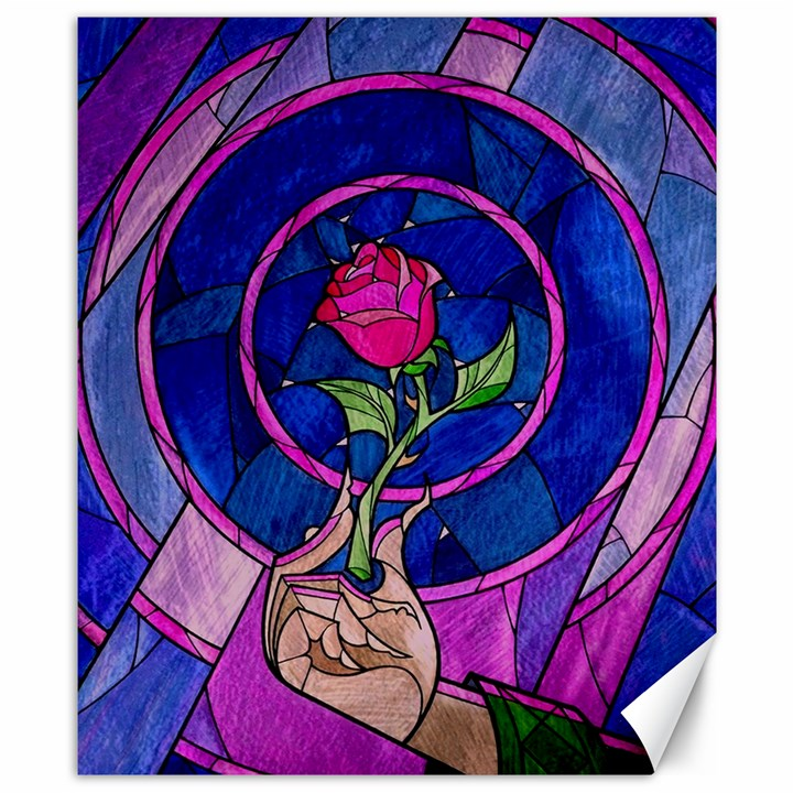 Enchanted Rose Stained Glass Canvas 8  x 10