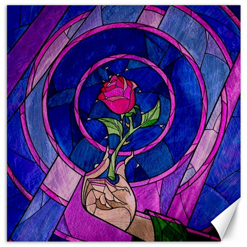 Enchanted Rose Stained Glass Canvas 12  x 12