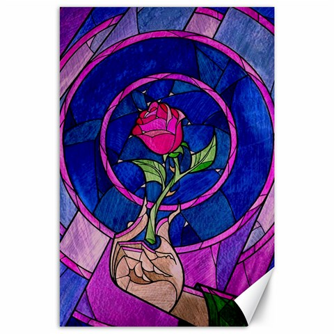 Enchanted Rose Stained Glass Canvas 24  x 36