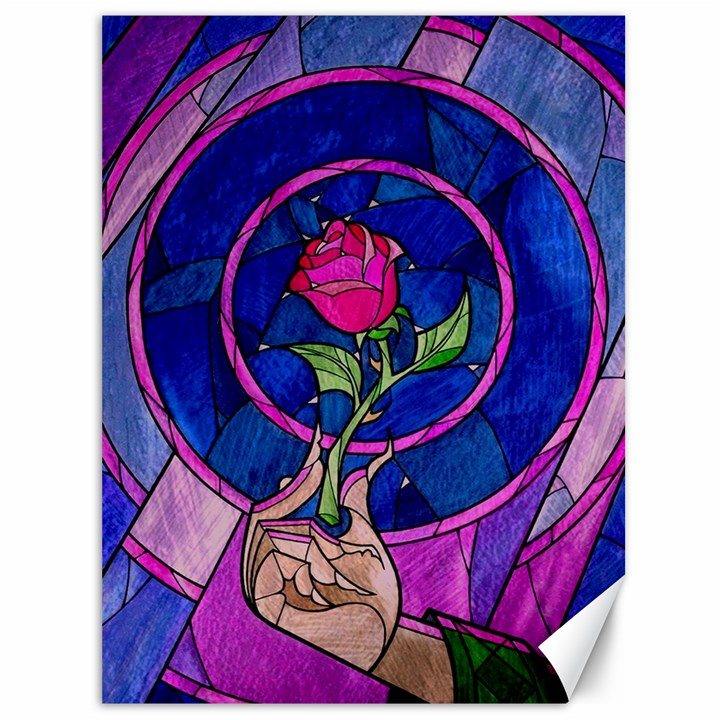 Enchanted Rose Stained Glass Canvas 36  x 48