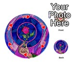 Enchanted Rose Stained Glass Playing Cards 54 (Round)  Front - Heart3