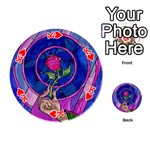 Enchanted Rose Stained Glass Playing Cards 54 (Round)  Front - HeartK