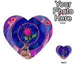 Enchanted Rose Stained Glass Playing Cards 54 (Heart)  Front - Heart9