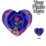Enchanted Rose Stained Glass Playing Cards 54 (Heart)  Front - ClubQ