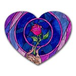 Enchanted Rose Stained Glass Heart Mousepads Front