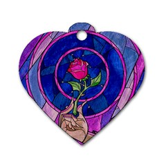 Enchanted Rose Stained Glass Dog Tag Heart (two Sides)
