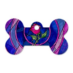 Enchanted Rose Stained Glass Dog Tag Bone (One Side)