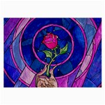 Enchanted Rose Stained Glass Large Glasses Cloth (2-Side) Back