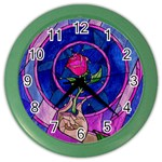 Enchanted Rose Stained Glass Color Wall Clocks Front