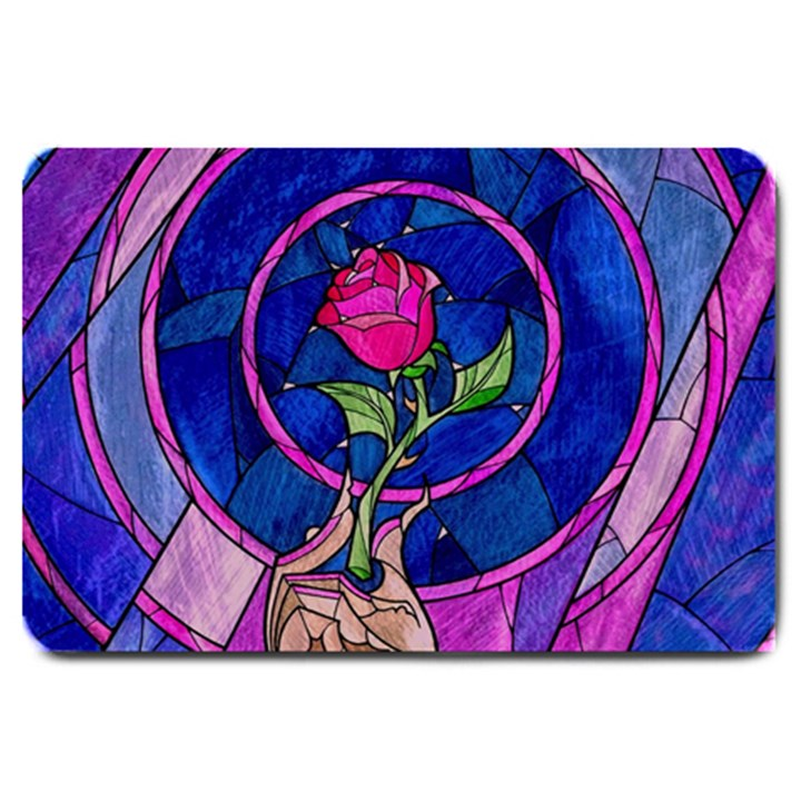 Enchanted Rose Stained Glass Large Doormat