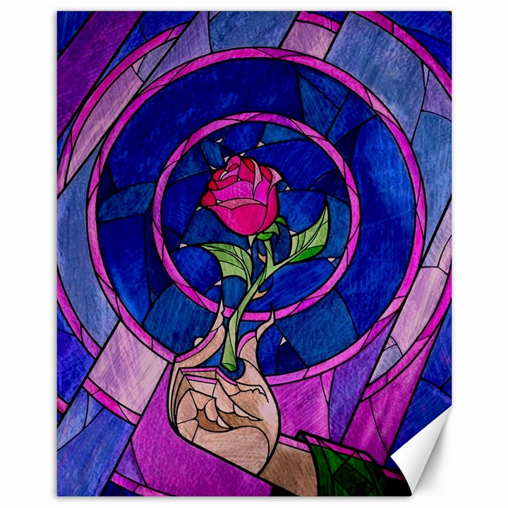 Enchanted Rose Stained Glass Canvas 11  x 14