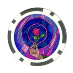 Enchanted Rose Stained Glass Poker Chip Card Guards Front