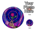 Enchanted Rose Stained Glass Multi-purpose Cards (Round)  Back 45