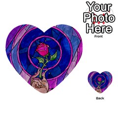 Enchanted Rose Stained Glass Multi Purpose Cards (heart)