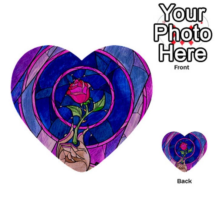 Enchanted Rose Stained Glass Multi-purpose Cards (Heart)