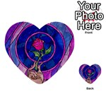 Enchanted Rose Stained Glass Multi-purpose Cards (Heart)  Front 54
