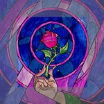 Enchanted Rose Stained Glass Mini Canvas 4  x 4  4  x 4  x 0.875  Stretched Canvas