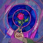 Enchanted Rose Stained Glass Mini Canvas 6  x 6  6  x 6  x 0.875  Stretched Canvas