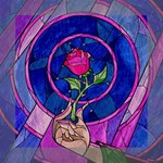 Enchanted Rose Stained Glass Mini Canvas 8  x 8  8  x 8  x 0.875  Stretched Canvas