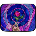 Enchanted Rose Stained Glass Double Sided Fleece Blanket (Mini)  35 x27 Blanket Front