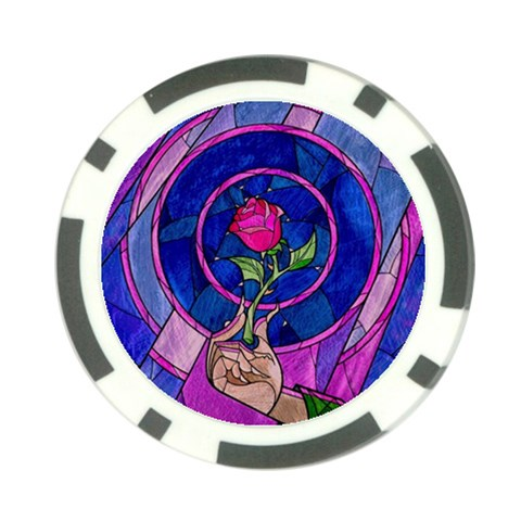 Enchanted Rose Stained Glass Poker Chip Card Guards (10 pack)