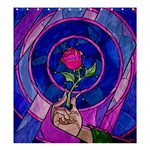 Enchanted Rose Stained Glass Shower Curtain 66  x 72  (Large)  58.75 x64.8 Curtain