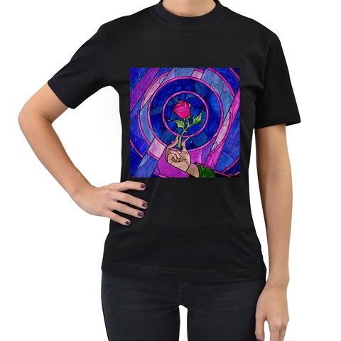 Enchanted Rose Stained Glass Women s T-Shirt (Black)