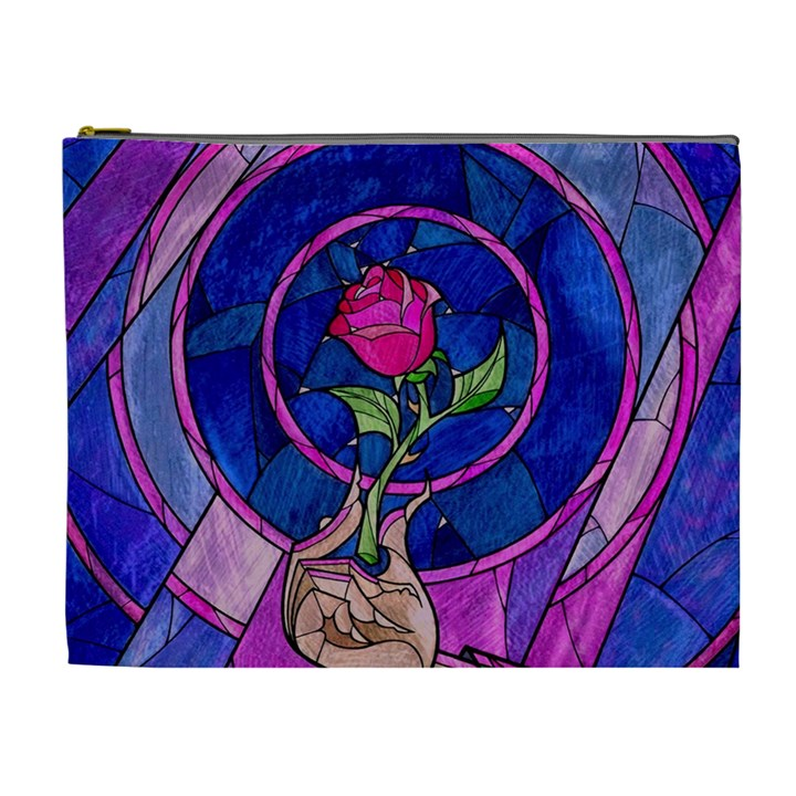 Enchanted Rose Stained Glass Cosmetic Bag (XL)