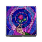 Enchanted Rose Stained Glass Memory Card Reader (Square) Front