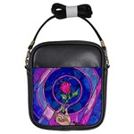 Enchanted Rose Stained Glass Girls Sling Bags Front