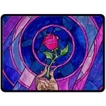 Enchanted Rose Stained Glass Fleece Blanket (Large)  80 x60 Blanket Front