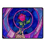 Enchanted Rose Stained Glass Fleece Blanket (Small) 50 x40 Blanket Front