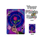 Enchanted Rose Stained Glass Playing Cards 54 (Mini)  Front - SpadeA