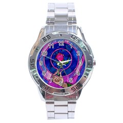 Enchanted Rose Stained Glass Stainless Steel Analogue Watch