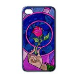 Enchanted Rose Stained Glass Apple iPhone 4 Case (Black) Front