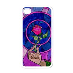 Enchanted Rose Stained Glass Apple Iphone 4 Case (white)