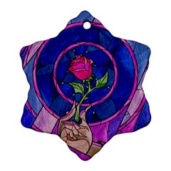 Enchanted Rose Stained Glass Ornament (Snowflake)